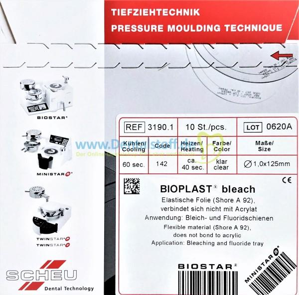 Bioplast Bleach Tiefziehfolie 1,0 x 125mm rund klar