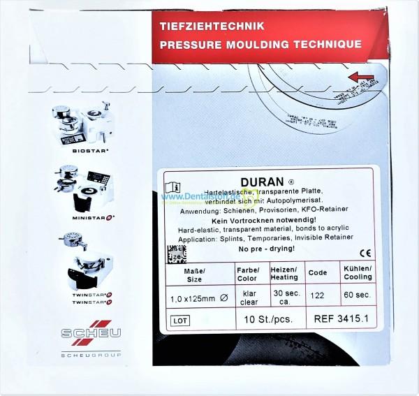 Duran Tiefziehfolie 125mm rund klar