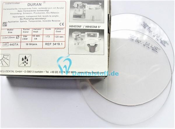 Duran Tiefziehfolie 125mm rund klar - verschiedene Varianten