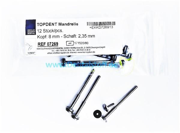 TOPDENT Mandrelle Kopf 8mm - 12 Stück